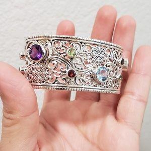 Samuel B. Stamped 925 adjustable gemstone cuff